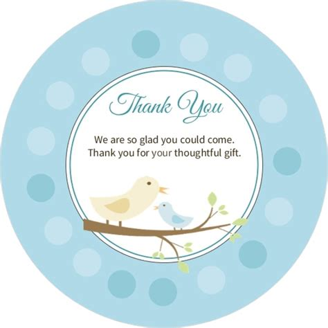 baby shower thank you card template free customization blue and baby bird with dots baby thank you card