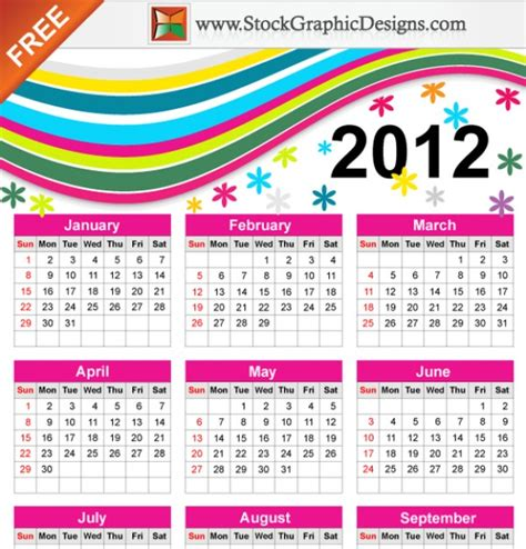 Calendar 5 Years Ago Colorful Free Vector Calendar For Year 2012 Vector Free