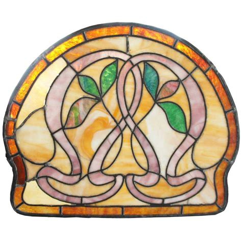small stained glass l small american art nouveau stained glass window from
