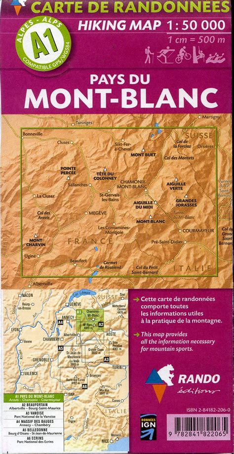 a1 rando editions pays du mont blanc hiking map 1 50 000