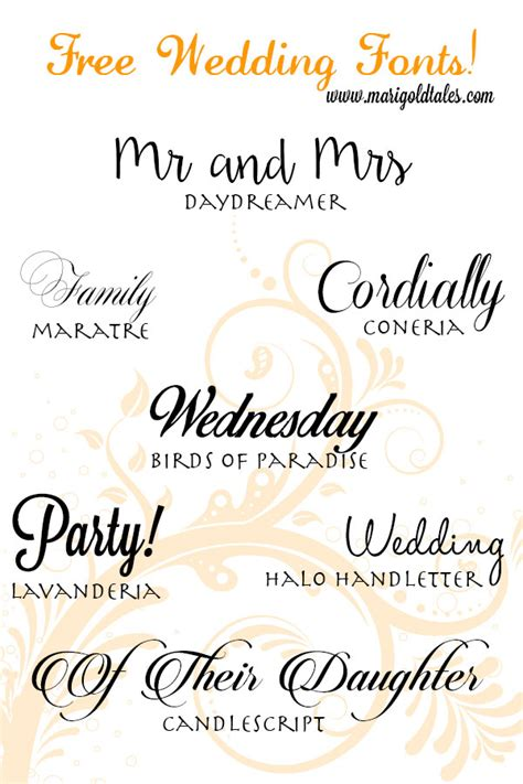 Wedding Fonts by Free Wedding Fonts Marigold Tales