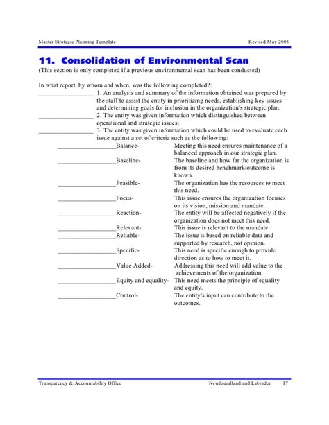 environmental scan template 31 excellence in strategic planning master temp strategic