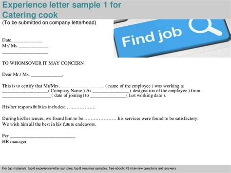 Work Experience Letter Cook Catering Cook Experience Letter