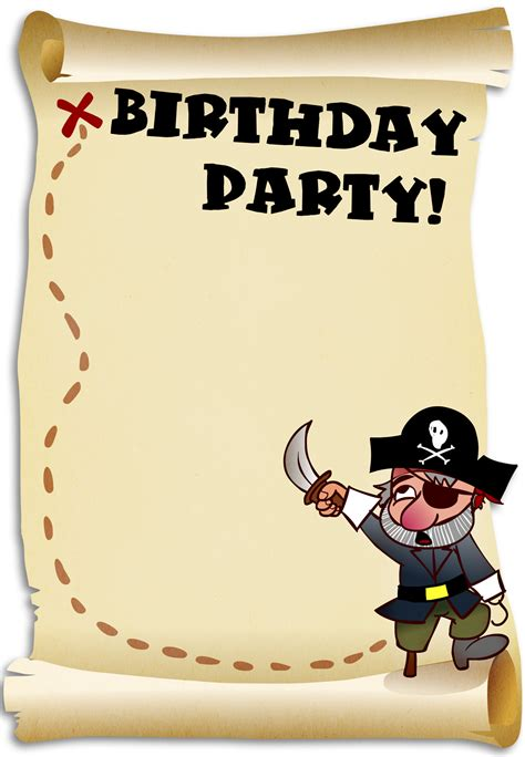 Pirate Birthday Card Template by Free Printable Birthday Invitation And