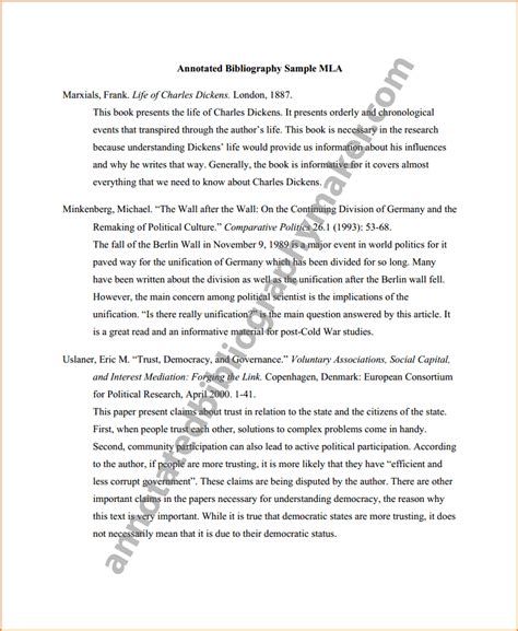 mla annotated bibliography template 10 mla format for annotated bibliography bibliography