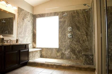 Silver Travertine Shower   Contemporary   Bathroom