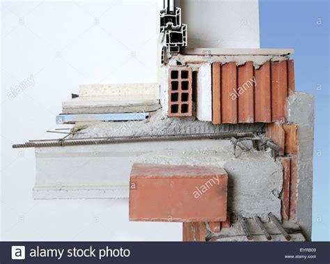 concrete floor section facade wall cross section of brick blocks window