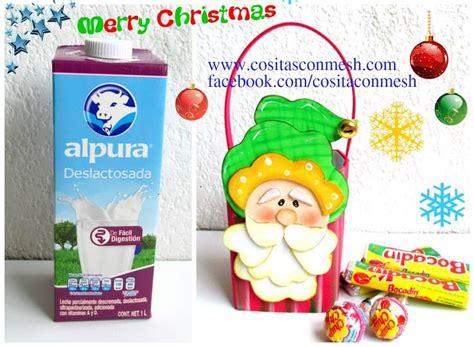 dulceros con cajas de leche dulceros navide 241 os en foami reciclando cajas de leche te