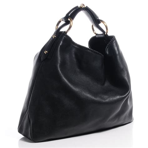Gucci Chain Large Hobo by Gucci Leather Large Horsebit Chain Hobo Black 64381