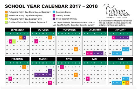 school year calendar trillium lakelands district school