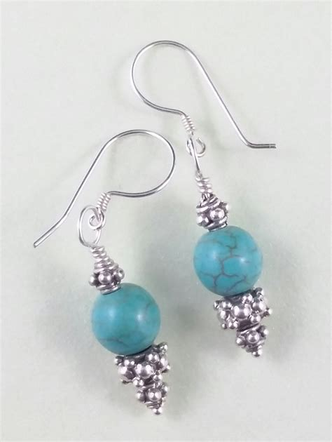 Sterling Silver Handmade Earrings - turquoise sterling silver decorative handmade earrings