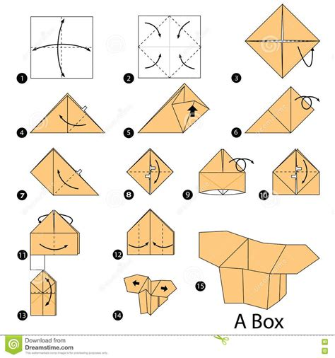 origami gift box template step by step how to make origami a box stock vector origami box
