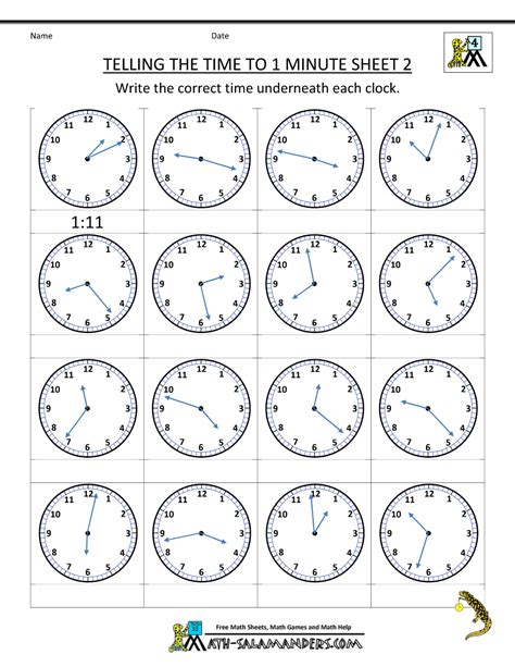 worksheet clock reading clock worksheets to 1 minute