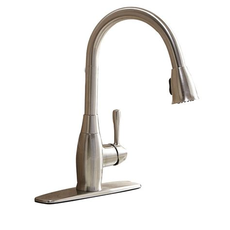 lowes faucets kitchen aquasource fp4a4057 1 handle pull down kitchen faucet