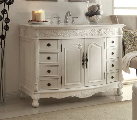 Marble Top Bathroom Vanity by Adelina 48 Inch Antique White Bathroom Vanity White Marble Top