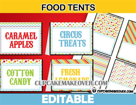 food tent cards template carnival directional signs circus welcome sign instant