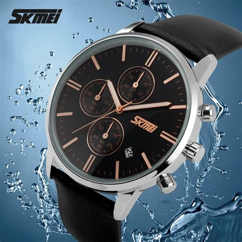 Skmei Casual Leather Water Resistant 30m 9116cl Emws skmei casual leather water resistant 30m