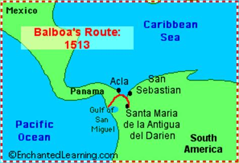 vasco nunez de balboa route explorers of south america enchantedlearning