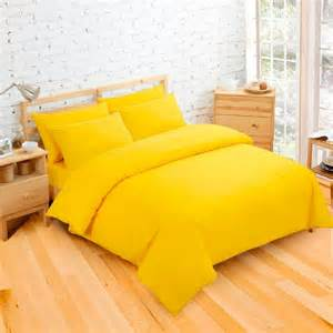 yellow cot bed duvet cover plain dyed bright yellow colour bedding duvet quilt cover