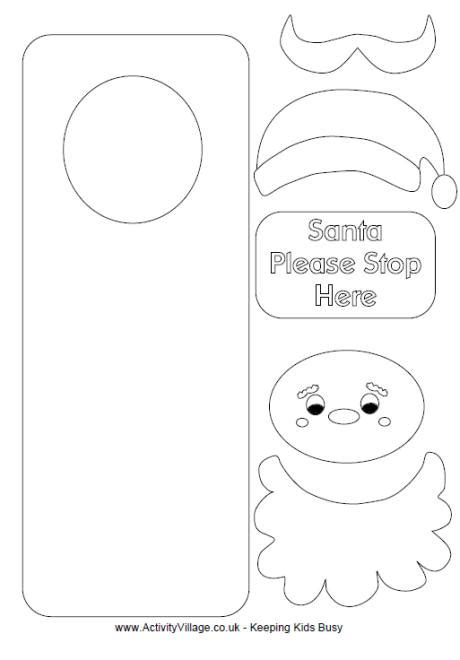 printable christmas crafts color me print me santa craft door hanger find more