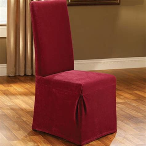 red dining room chair covers sure fit stretch pique garnet deep red long dining room