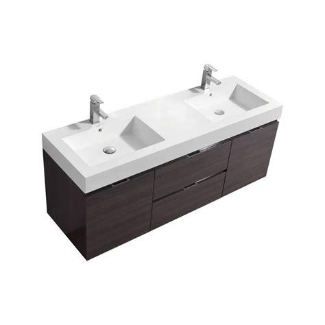 bliss 60quot high gloss gray oak wall mount double sink