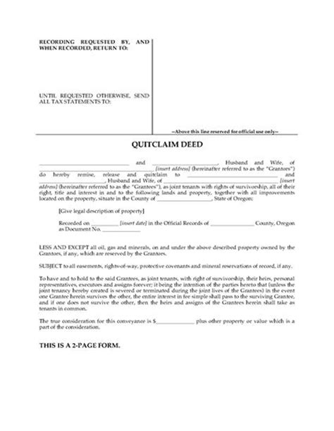 oregon quitclaim deed for joint ownership legal forms