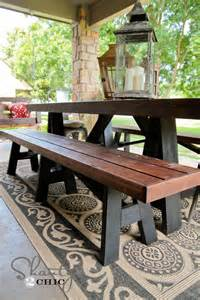 diy outdoor table and bench diy bench for dining table shanty 2 chic
