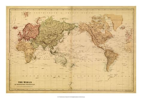 map   world cs mercator projection fine art