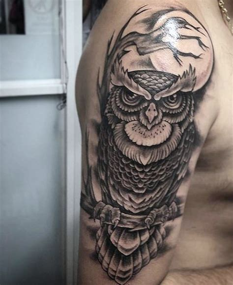 Owl Tattoo Guy | back upper shoulder men owl tattoo buscar con google