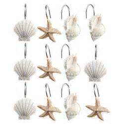 new 12 pcs decorative seashell shower curtain hooks