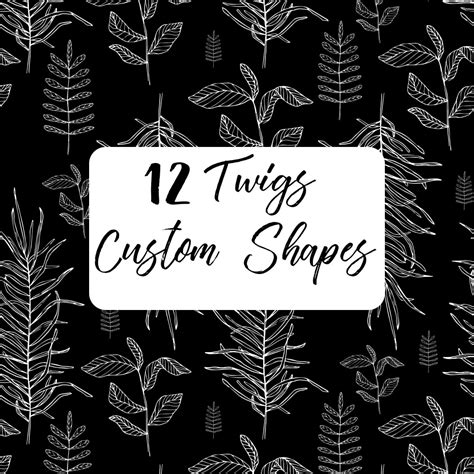 custom pattern brush photoshop 12 twigs custom shapes photoshop custom shapes
