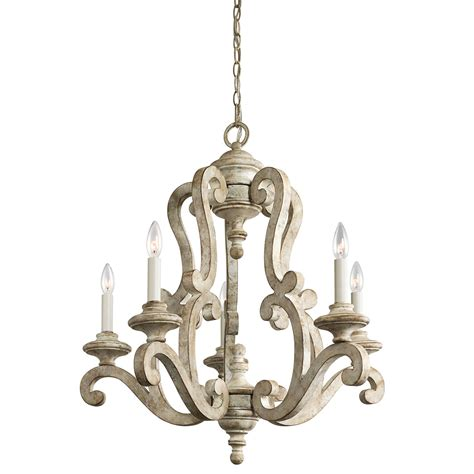 Kichler Hayman Bay Five Light Distressed Antique White Distressed Chandeliers