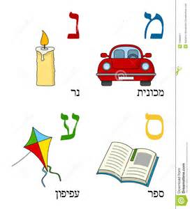 Hebrew alphabet for kids letters mem nun samekh and ayin with four