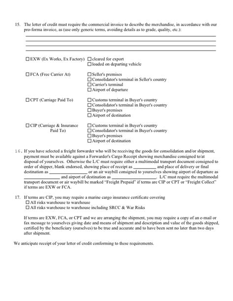 Commercial Invoice Letter Of Credit Lc Template