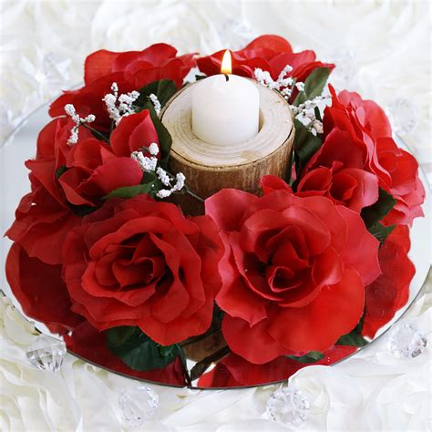 tabletop centerpieces 8 pcs silk roses flowers candle rings wedding tabletop