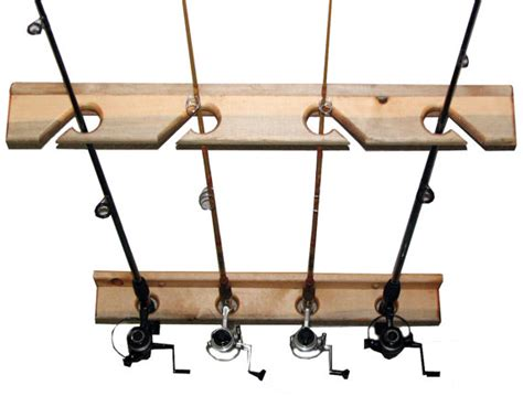 fishing rod storage rack holds 4 ceiling or vertical by