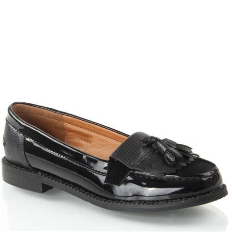 school loafers slip on fringe tassel black formal school