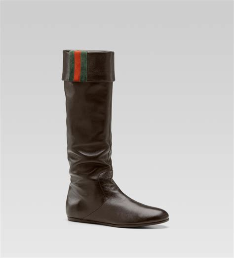 gucci sly web flat boot with signature web detail in brown