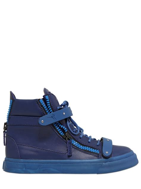 blue giuseppe sneakers giuseppe zanotti 30mm metal leather high top sneakers in