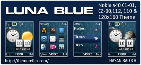 nokia c2 beautiful themes luna blue live theme for nokia c1 01 c2 00 110 112