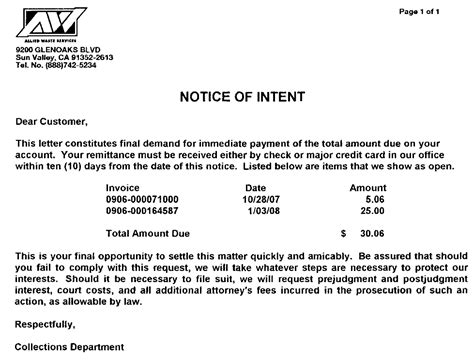 Stonehill News Notice Of Intent To Cancel Allied Waste