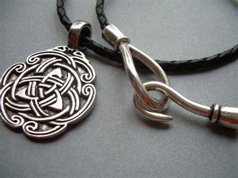 leather necklace celtic pendant mens necklace black