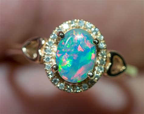 Opal Rings by Solid Gem Semi Black Opal 14k Solid Gold Engagement