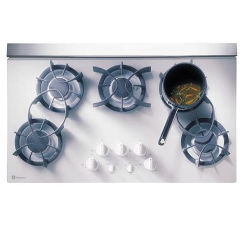 monogram cooktop zgu365dwbwg ge monogram 174 36 quot white downdraft gas cooktop