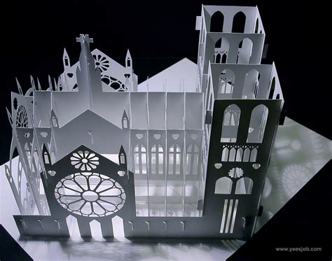Octagon House notre dame cathedral 180 degrees open pop up diy kirigami
