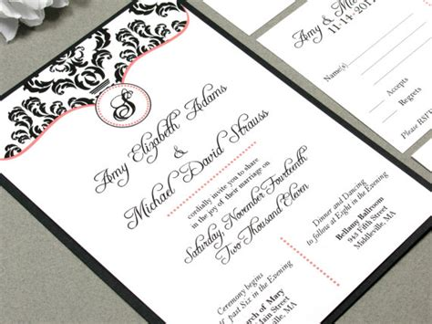 monogram wedding invitation set damask wedding invitation set monogram wedding invitations calligraphy wedding invitation