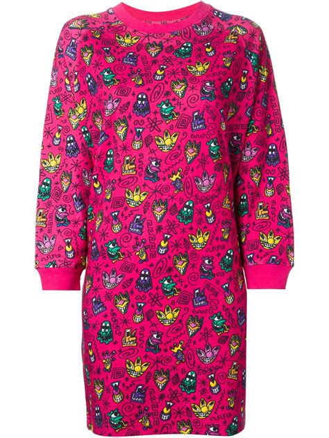 Adidas Printed In Pink by Lyst Adidas Printed Oversized Sweatshirt Dress In Pink