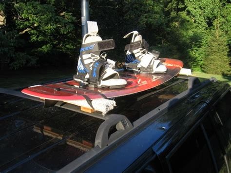 how to attach snowboard to roof rack car wakeboard snowboard rack