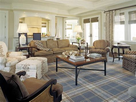 hgtv traditional living rooms casual living room with menswear inspired plaid area rug hgtv